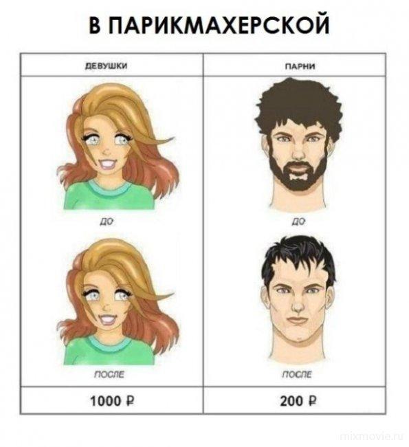 Мужская и женская стрижка картинки прикол